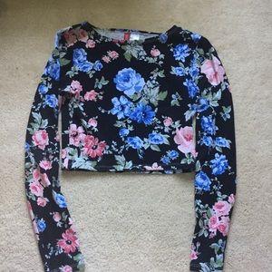Floral black crop top